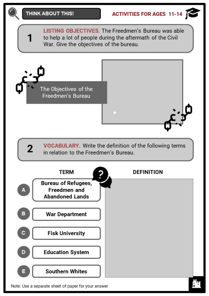Freedmen's Bureau Student Activities & Answer Guide 1