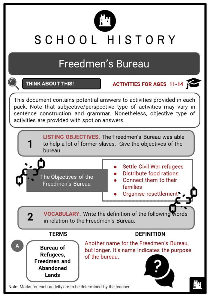 Freedmen's Bureau Student Activities & Answer Guide 2