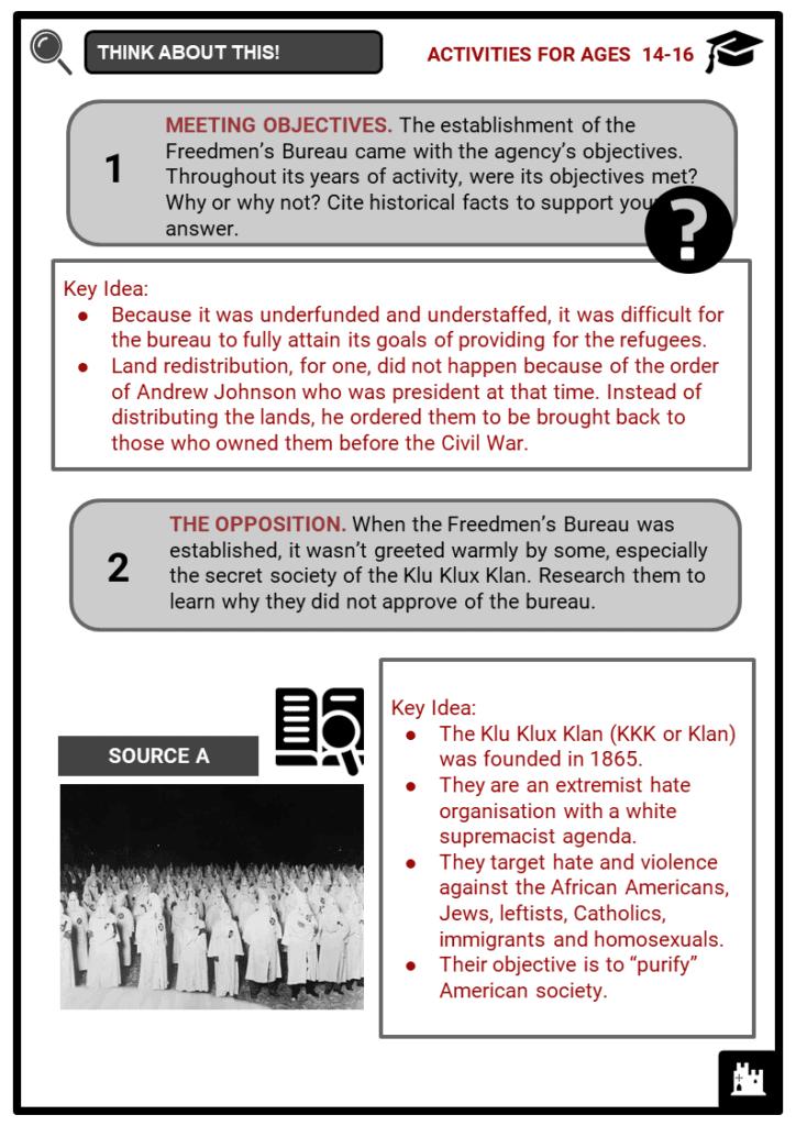 Freedmen's Bureau Student Activities & Answer Guide 4