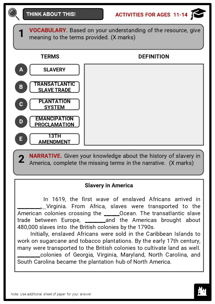 History of Slavery in America Student Activities & Answer Guide 1