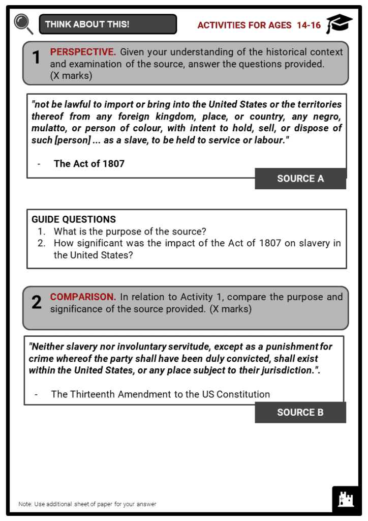 History of Slavery in America Student Activities & Answer Guide 3
