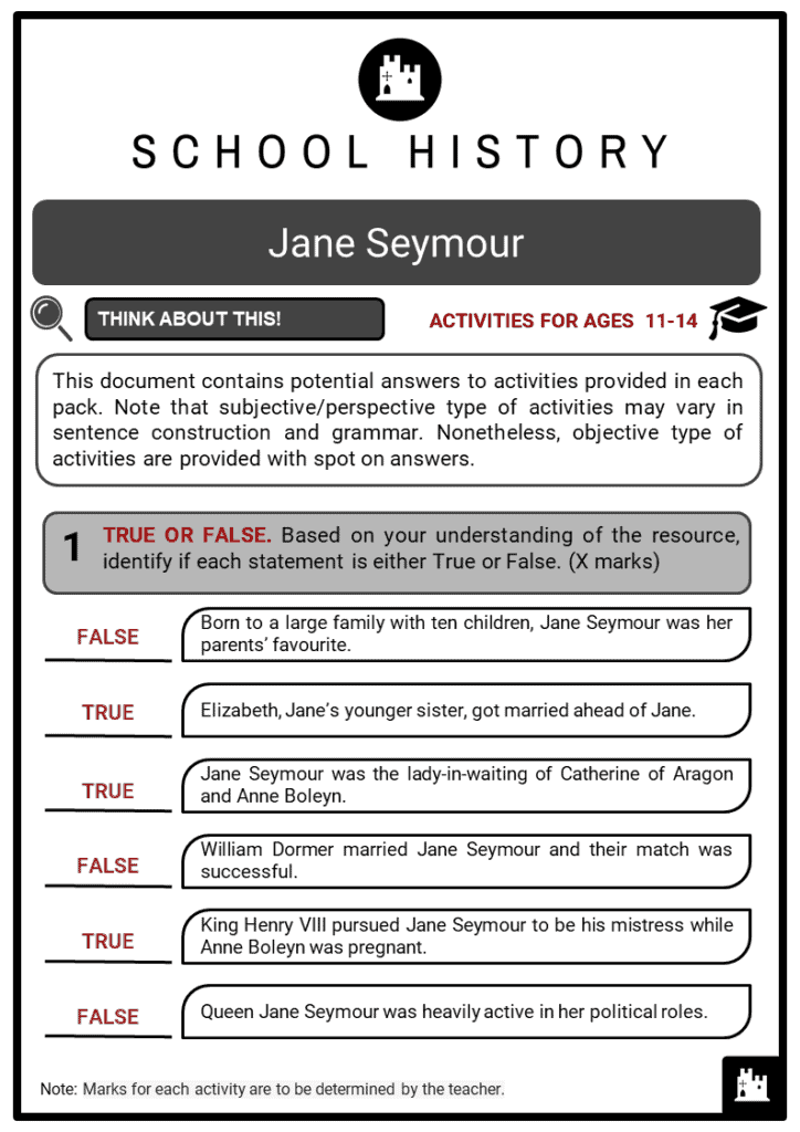 Jane Seymour Student Activities & Answer Guide 2