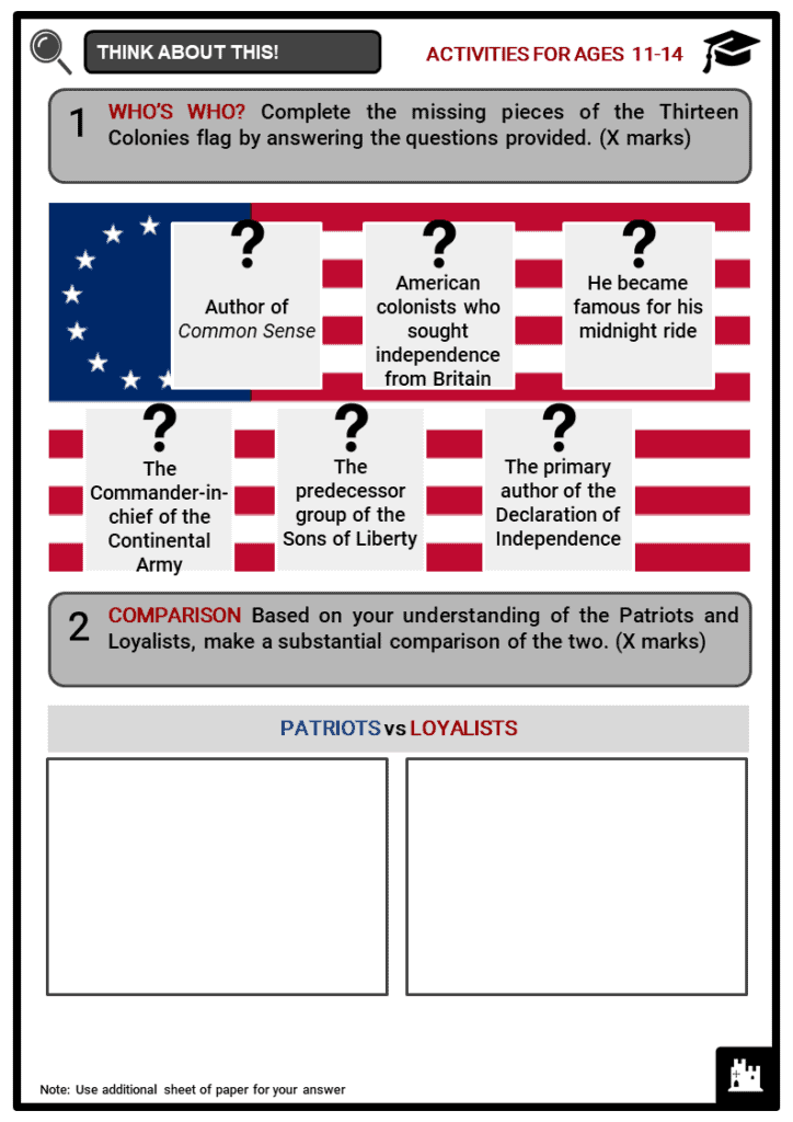 Key figures in the American Revolution Student Activities & Answer Guide 1