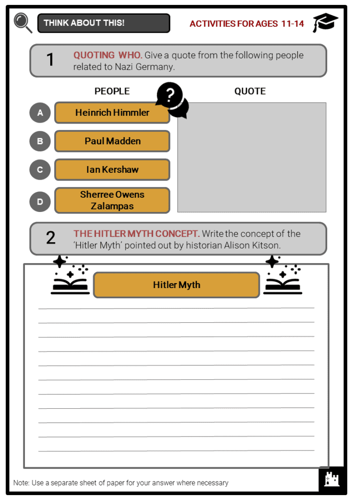 Nazi Germany Quotations Student Activities & Answer Guide 1