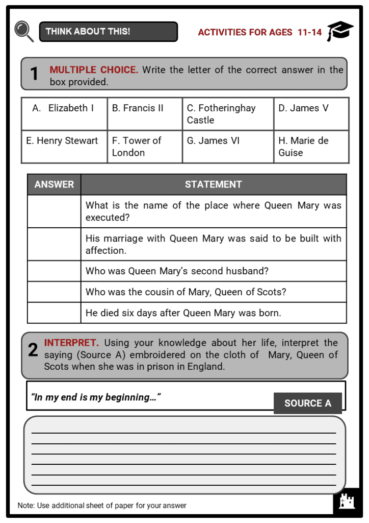 Queen Mary of Scots Student Activities & Answer Guide 1
