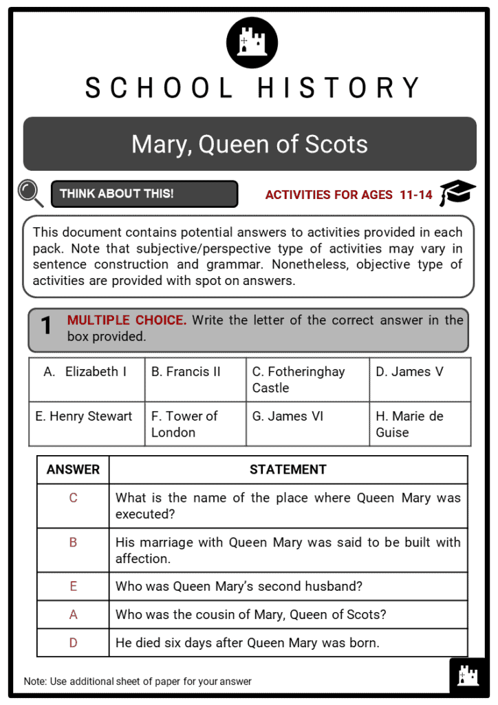 Queen Mary of Scots Student Activities & Answer Guide 2