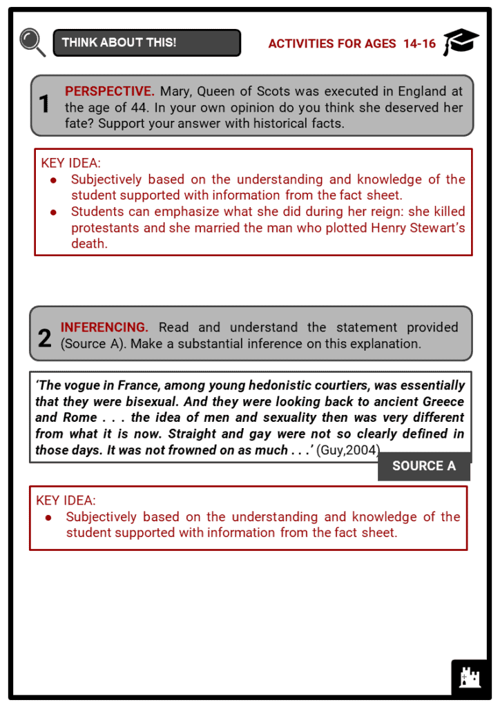Queen Mary of Scots Student Activities & Answer Guide 4
