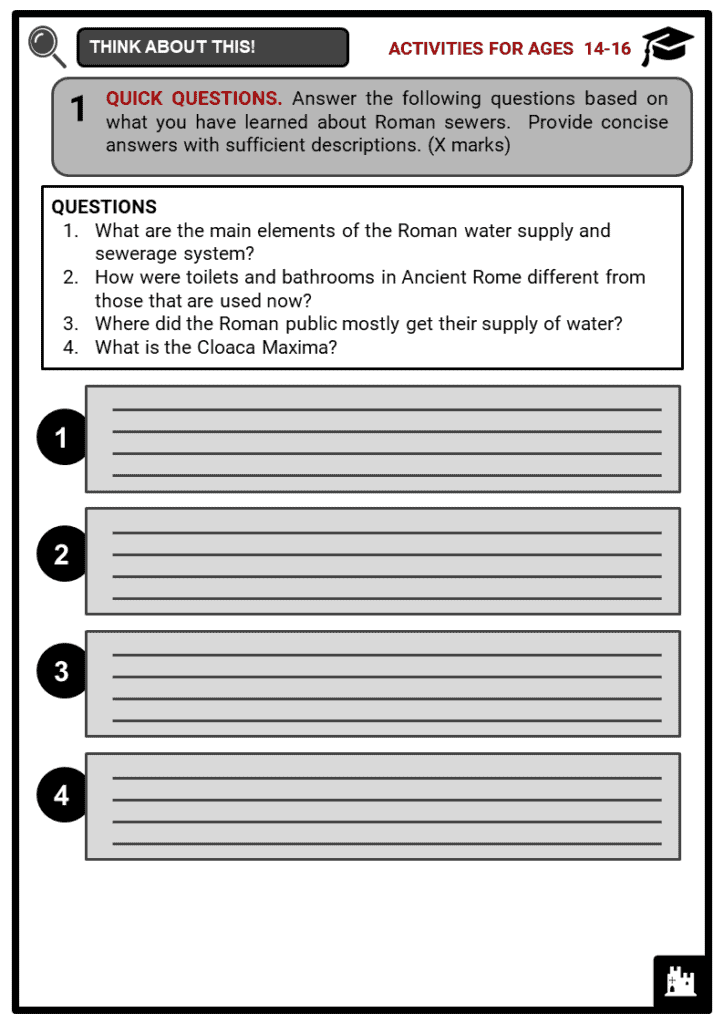 Roman Sewers Student Activities & Answer Guide 3
