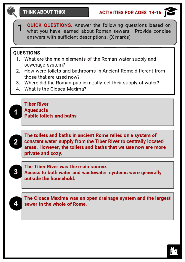 Roman Sewers Student Activities & Answer Guide 4