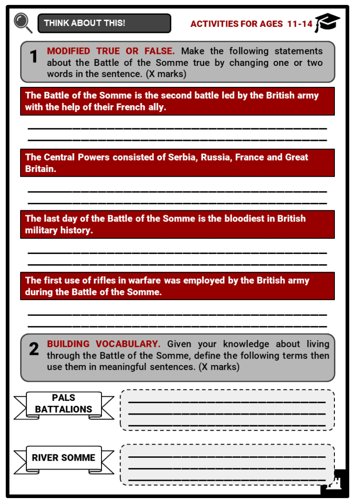 The Battle of the Somme Student Activities & Answer Guide 1