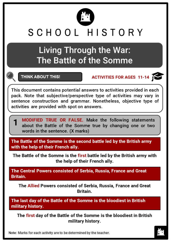 The Battle of the Somme Student Activities & Answer Guide 2
