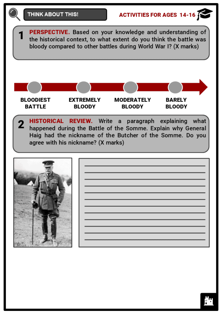 The Battle of the Somme Student Activities & Answer Guide 3