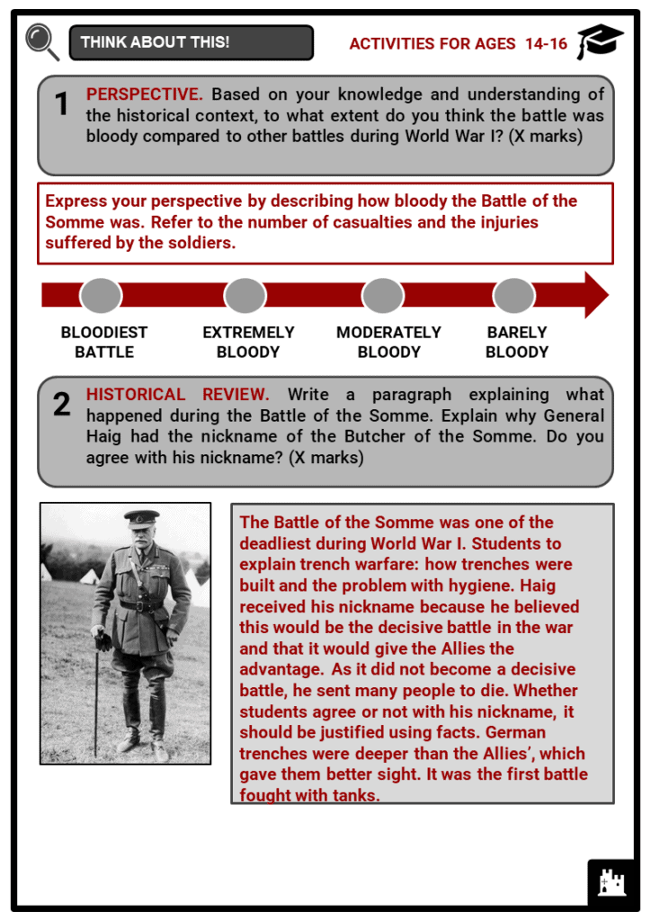 The Battle of the Somme Student Activities & Answer Guide 4