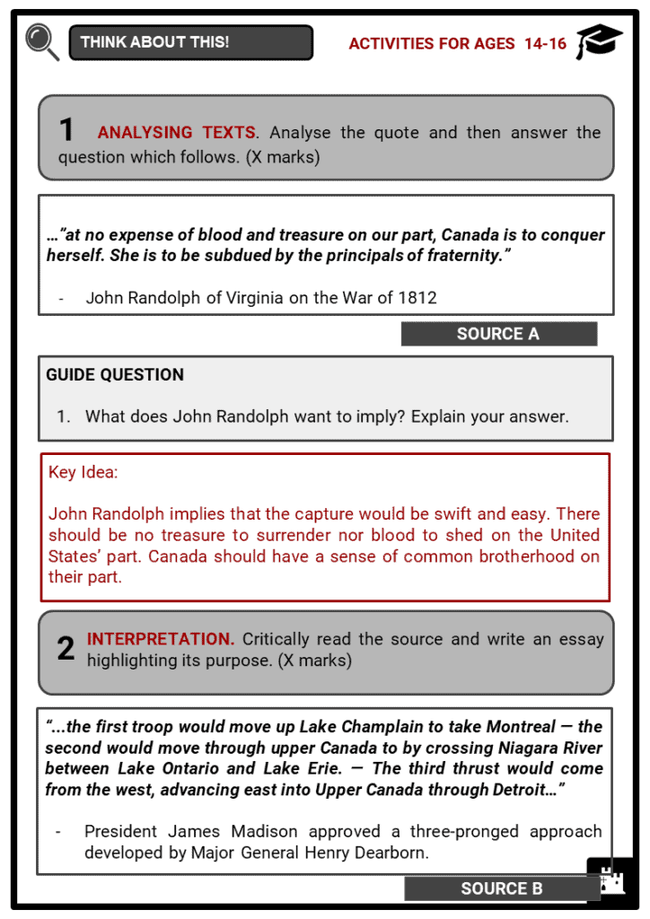 The War of 1812 Student Activities & Answer Guide 4