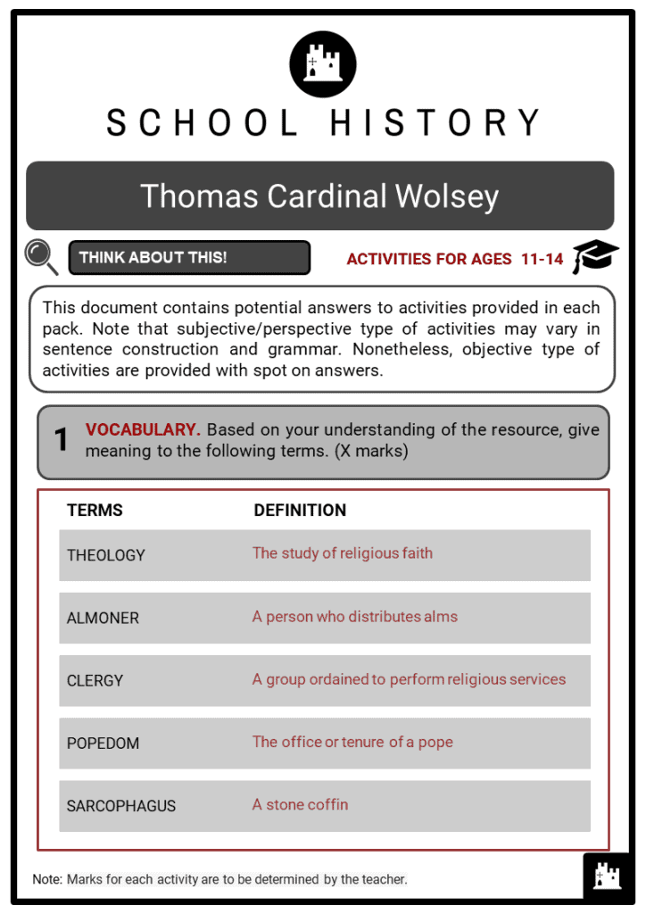 Thomas Cardinal Wolsey Student Activities & Answer Guide 2