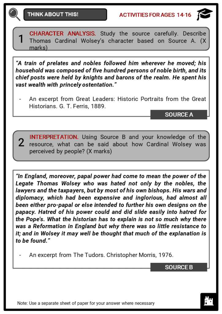 Thomas Cardinal Wolsey Student Activities & Answer Guide 3