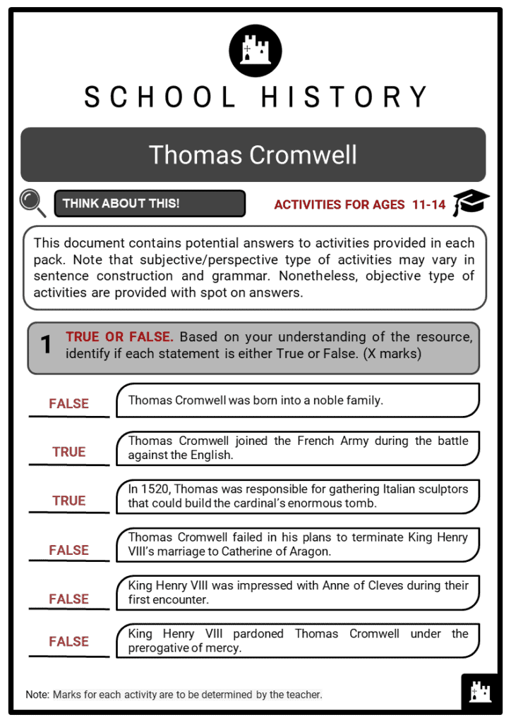 Thomas Cromwell Student Activities & Answer Guide 2