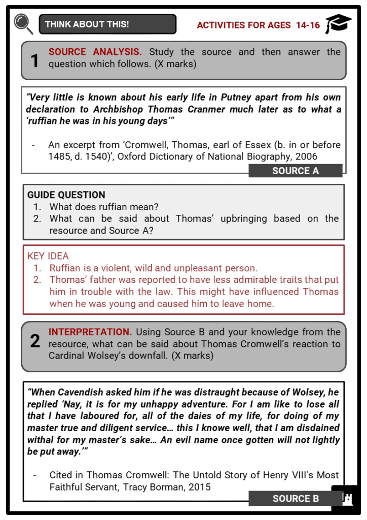 Thomas Cromwell Student Activities & Answer Guide 4