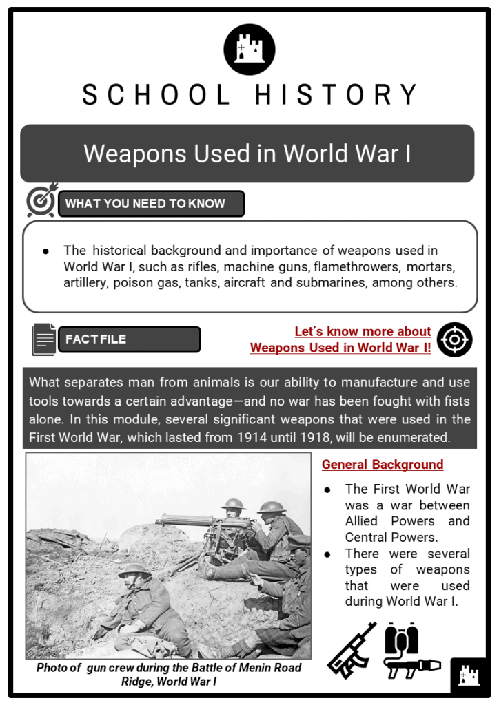 Weapons Used in World War I Resource Collection 1