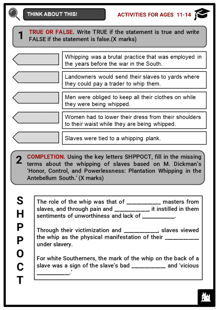 Whipping of Slaves Student Activities & Answer Guide 1