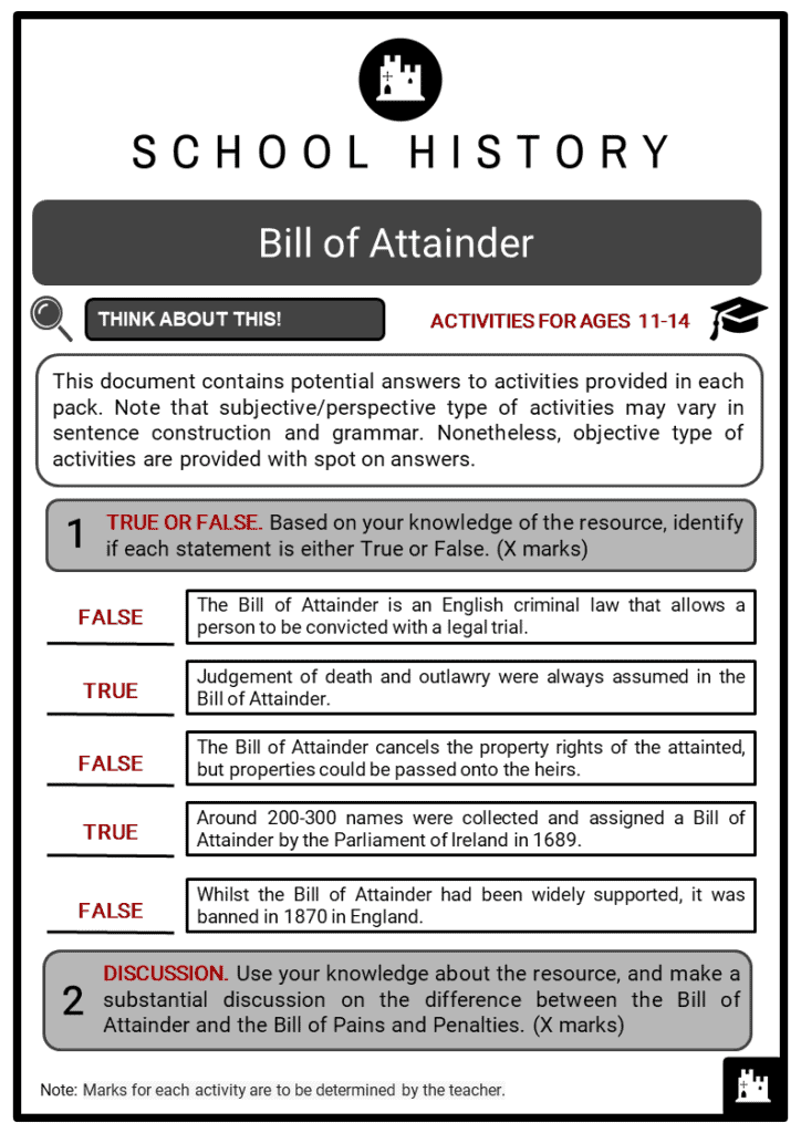 Bill of Attainder Student Activities & Answer Guide 2