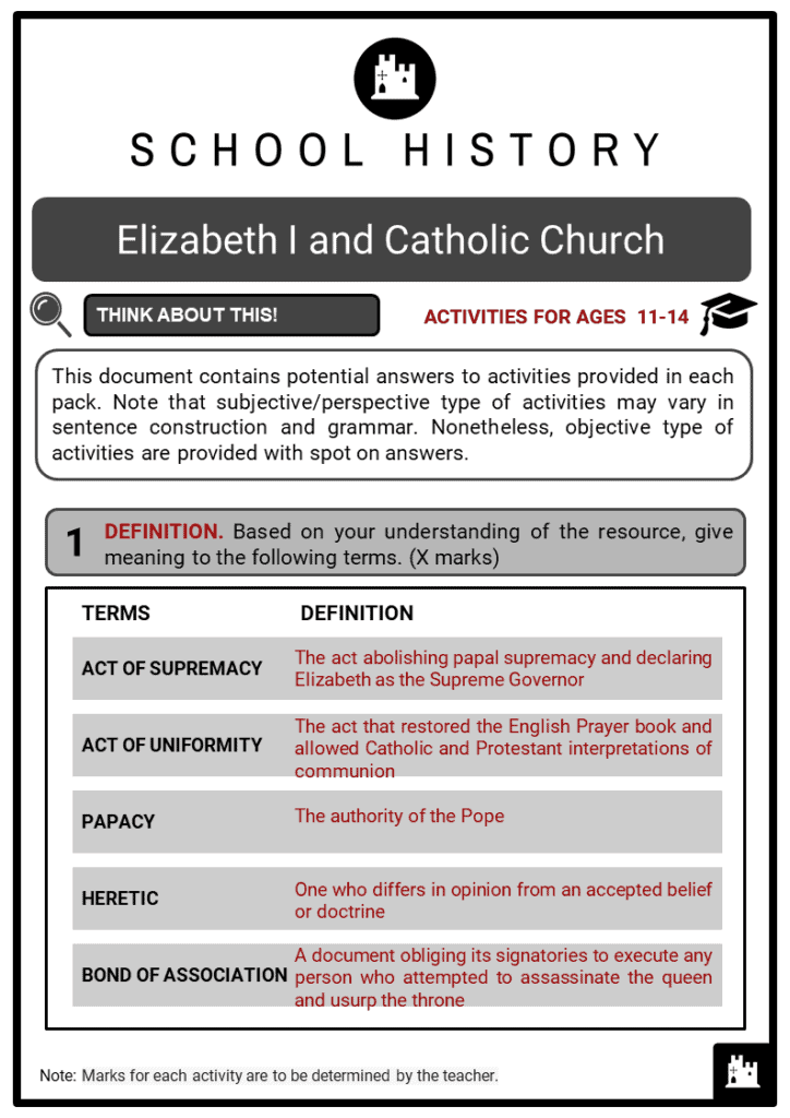 Elizabeth I and Catholic Church Student Activities & Answer Guide 2