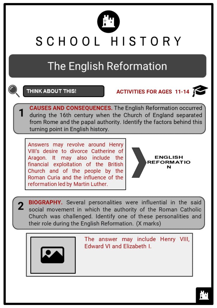 English Reformation Student Activities & Answer Guide 2