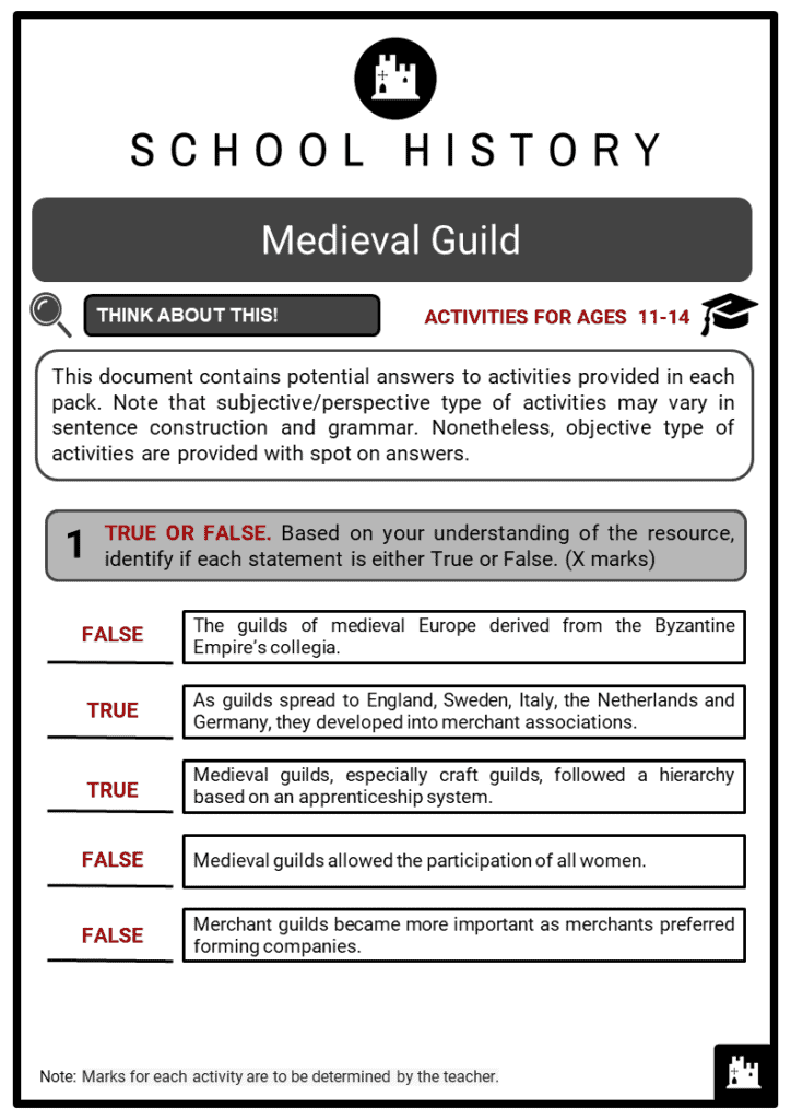 Medieval Guild Student Activities & Answer Guide 2