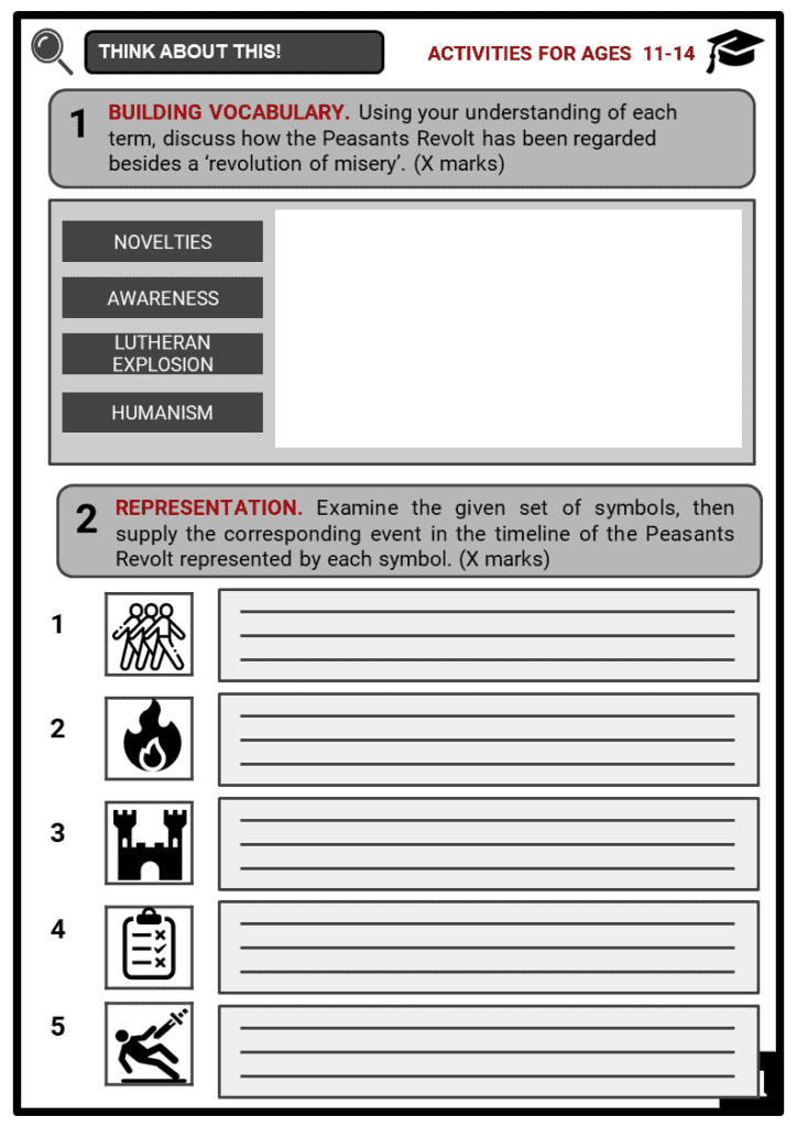 Peasants Revolt Timeline Student Activities & Answer Guide 1