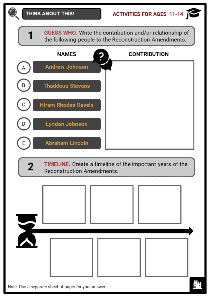 Reconstruction Amendments Student Activities & Answer Guide 1