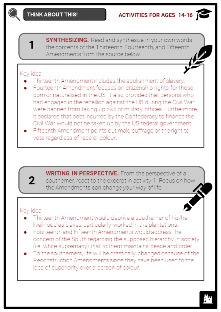 Reconstruction Amendments Student Activities & Answer Guide 4
