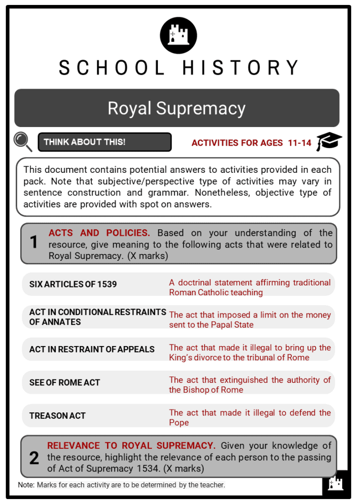 Royal Supremacy Student Activities & Answer Guide 2