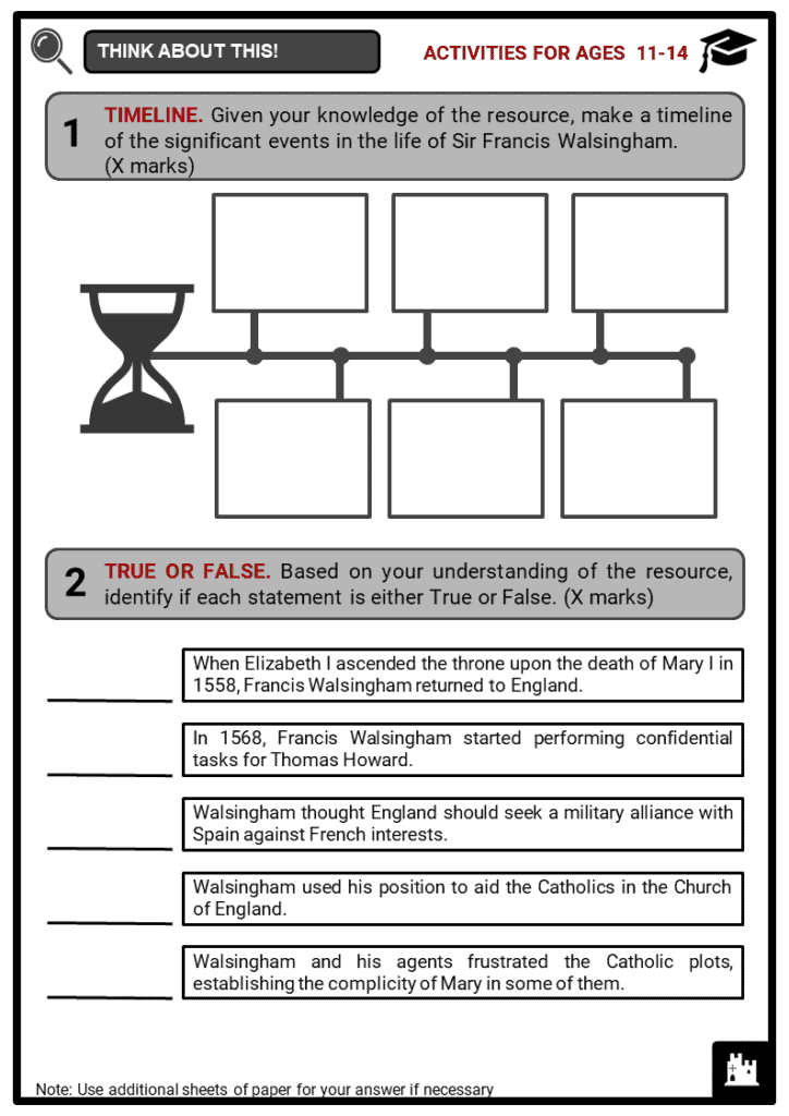 Sir Francis Walsingham Student Activities & Answer Guide 1