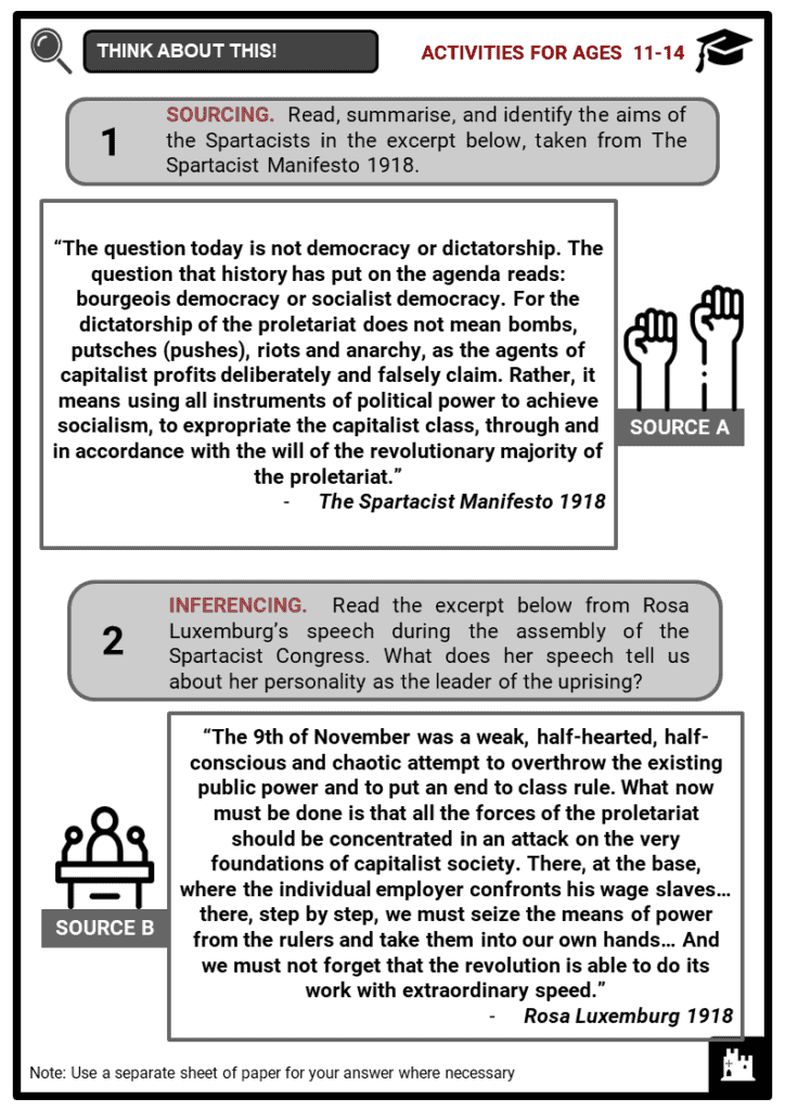 Spartacist Uprising 1919 Student Activities & Answer Guide 3