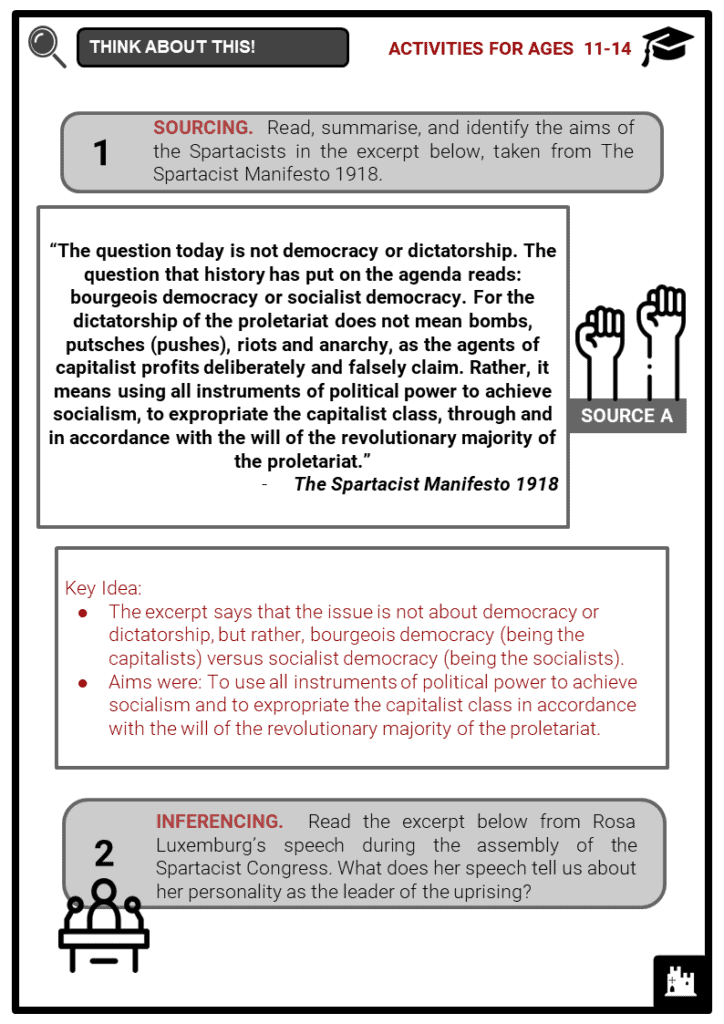 Spartacist Uprising 1919 Student Activities & Answer Guide 4