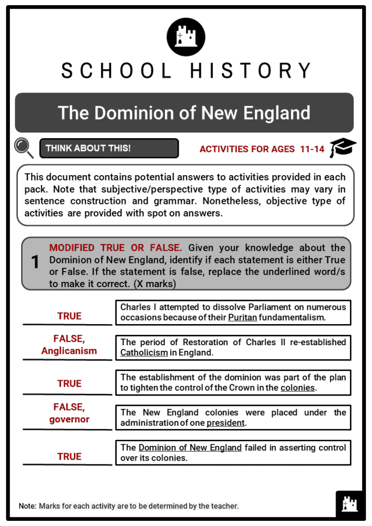 The Dominion of New England Student Activities & Answer Guide 2