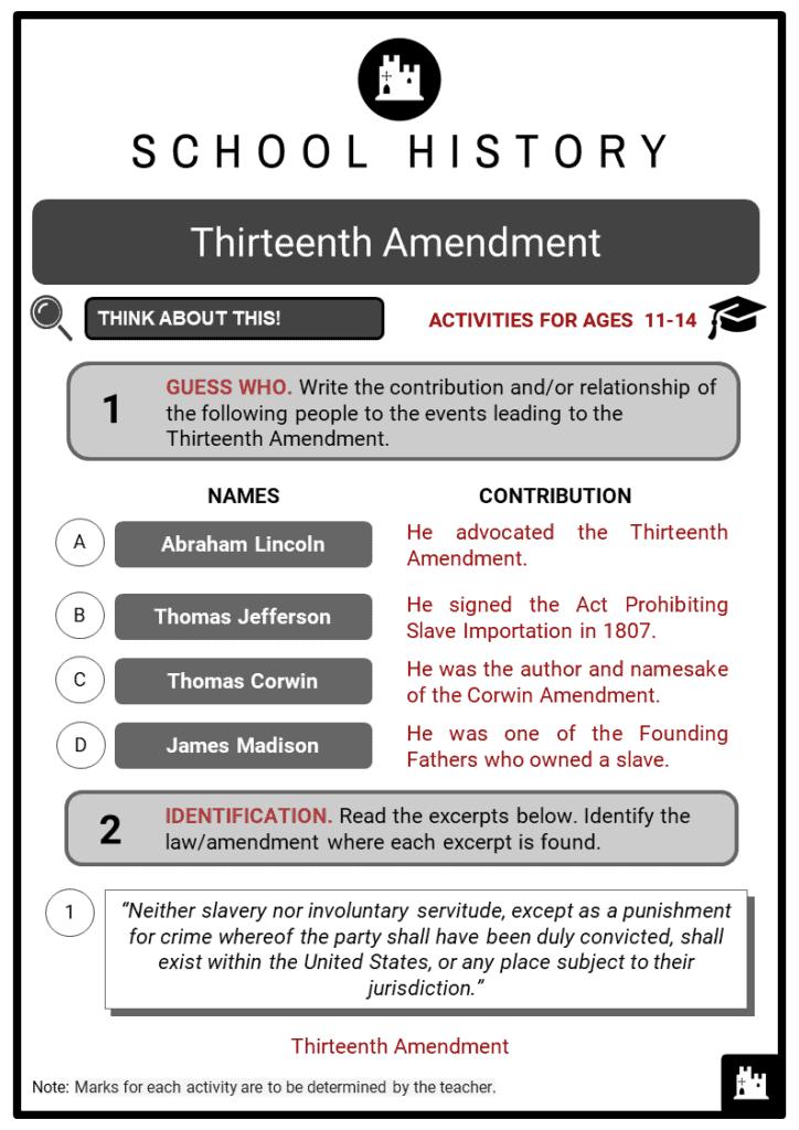 Thirteenth Amendment Student Activities & Answer Guide 2