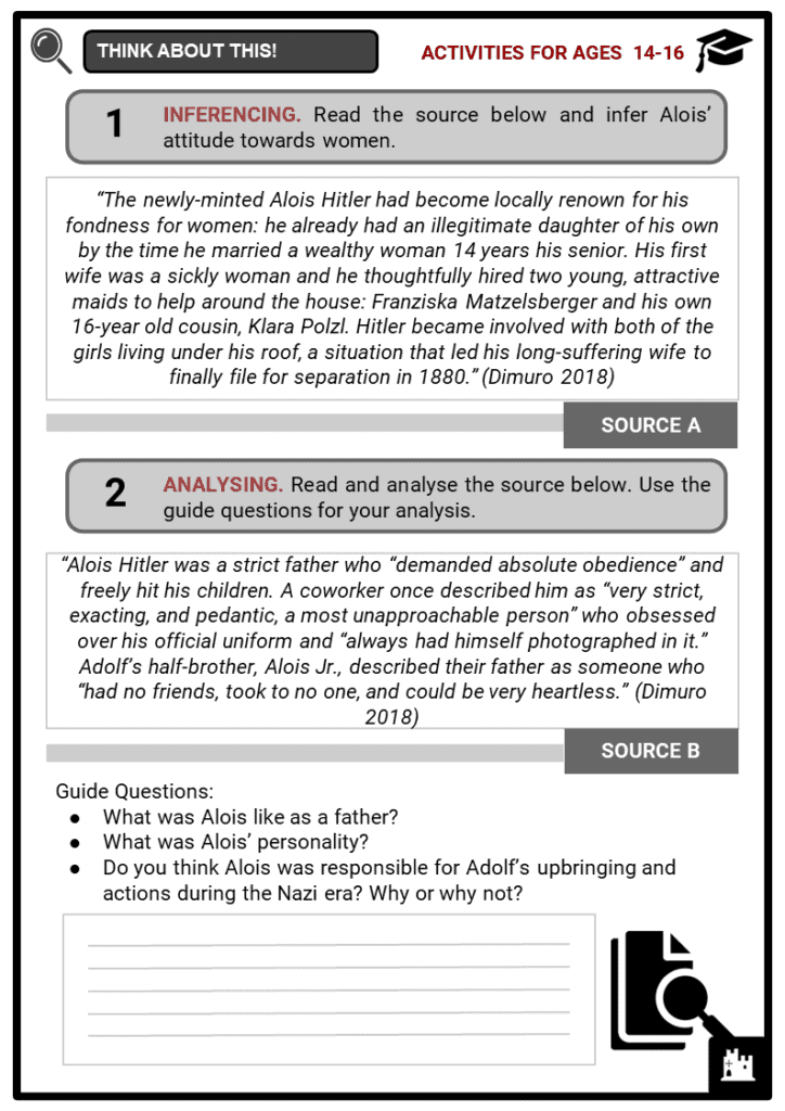 Alois Hitler, Sr. Student Activities & Answer Guide 3