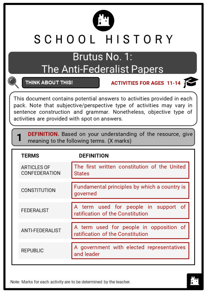Brutus No. 1_ The Anti-Federalist Papers Student Activities & Answer Guide 2
