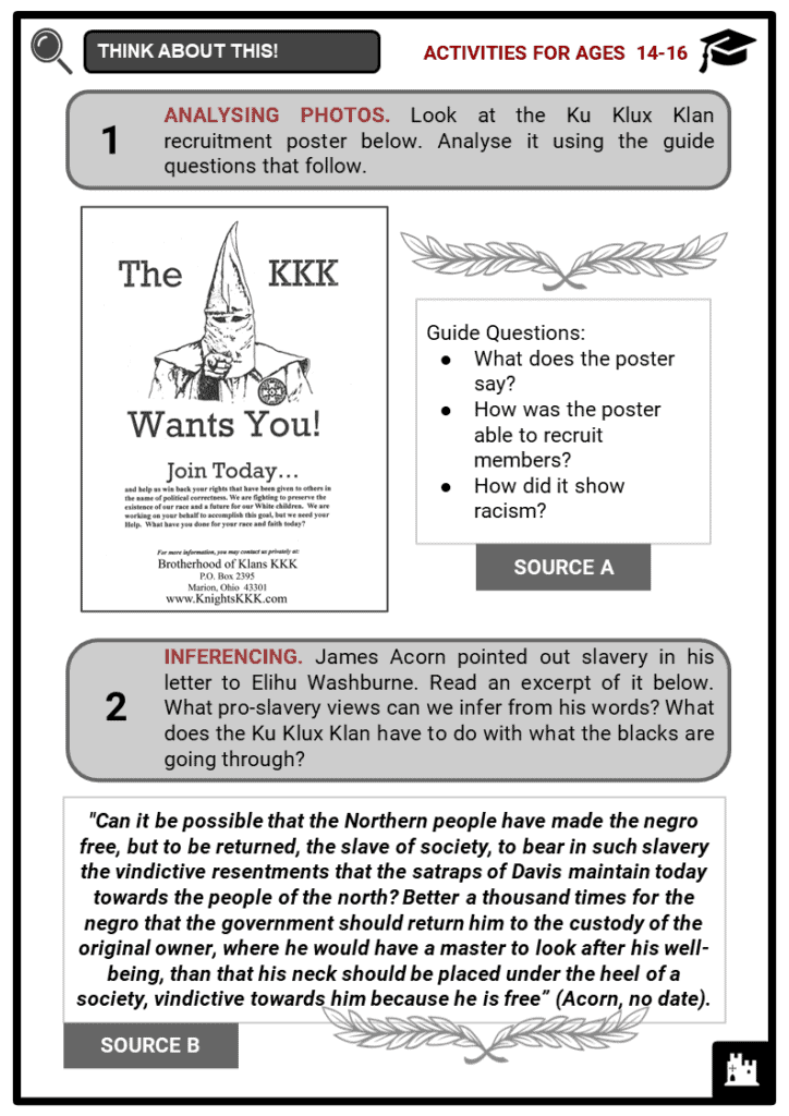 Ku Klux Klan Student Activities & Answer Guide 3