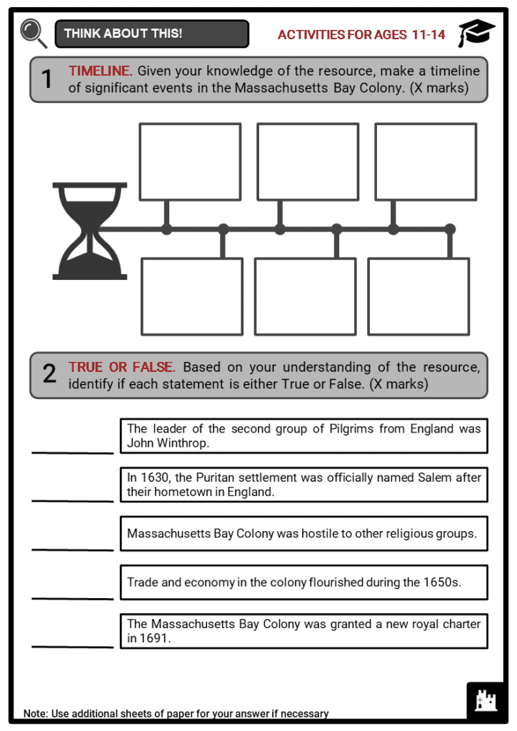 Massachusetts Bay Colony Student Activities & Answer Guide 1