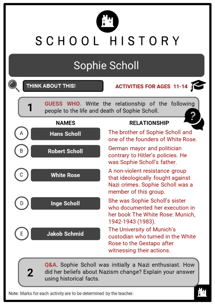 Sophie Scholl Student Activities & Answer Guide 2