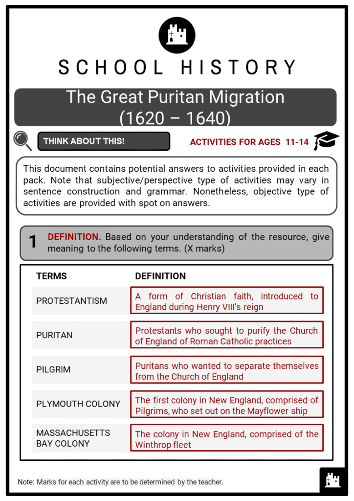The Great Puritan Migration (1620 – 1640) Student Activities & Answer Guide 2