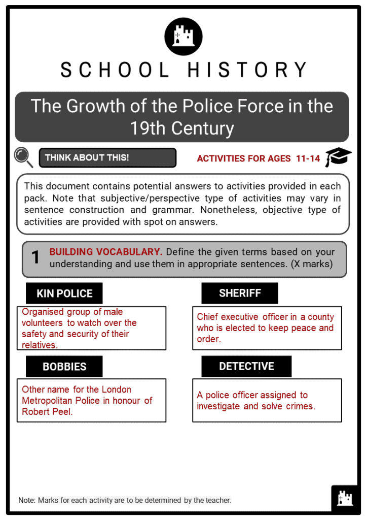 The Growth of the Police Force in the 19th Century Student Activities & Answer Guide 2