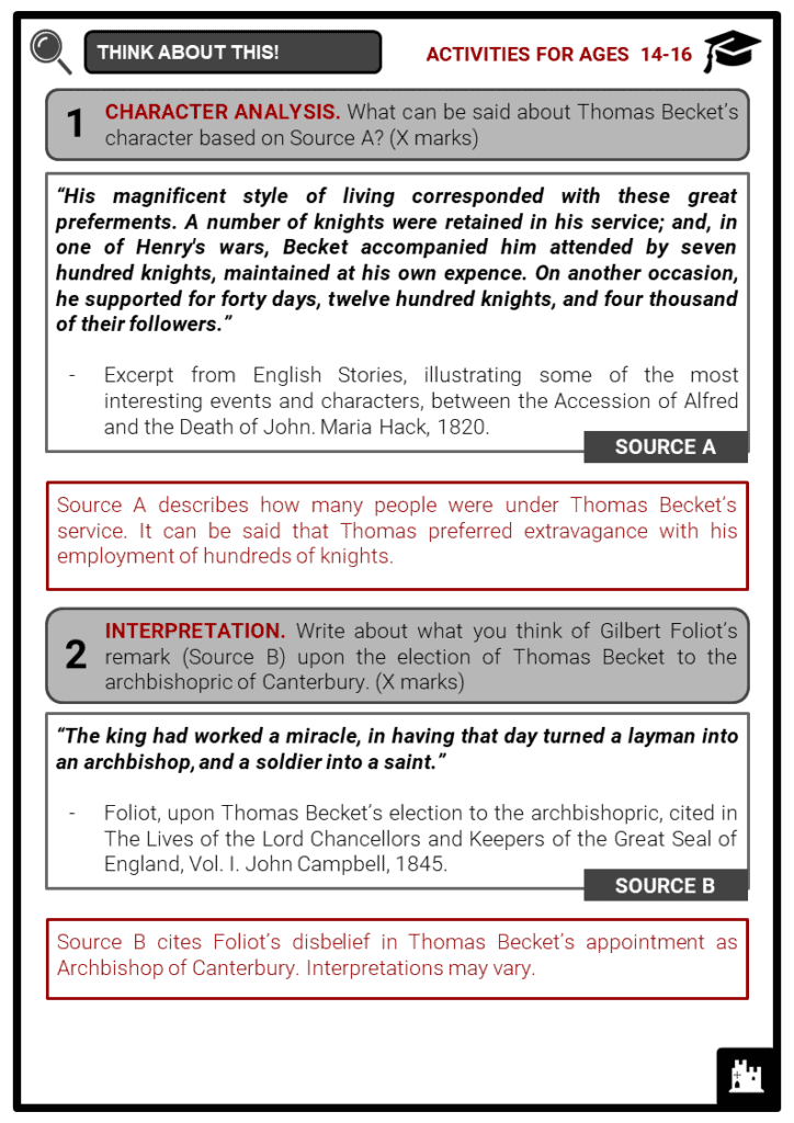 Thomas Becket Student Activities & Answer Guide 4