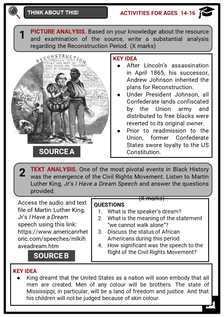 Black History Student Activities & Answer Guide 4