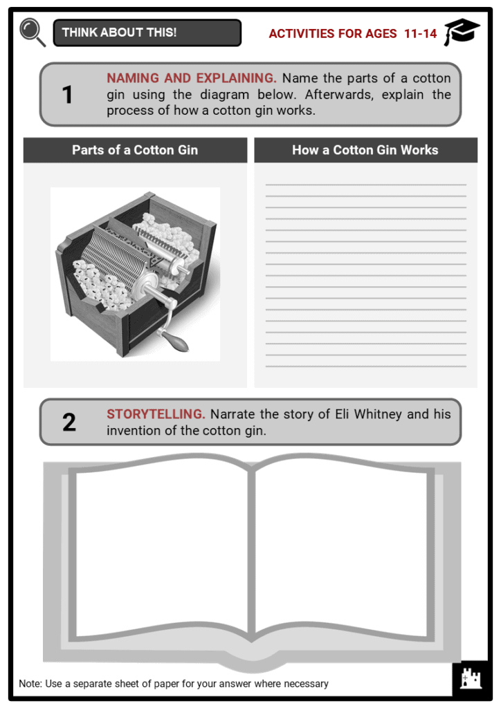 Cotton and Slavery Student Activities & Answer Guide 1