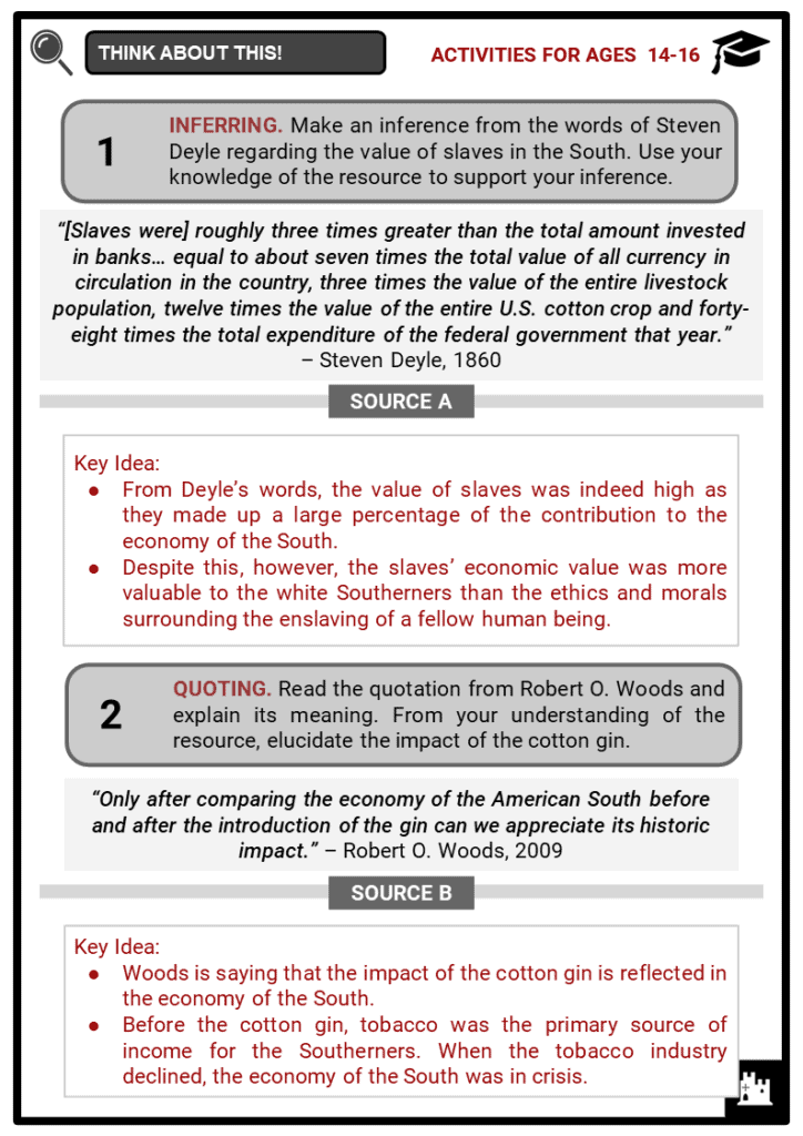 Cotton and Slavery Student Activities & Answer Guide 4