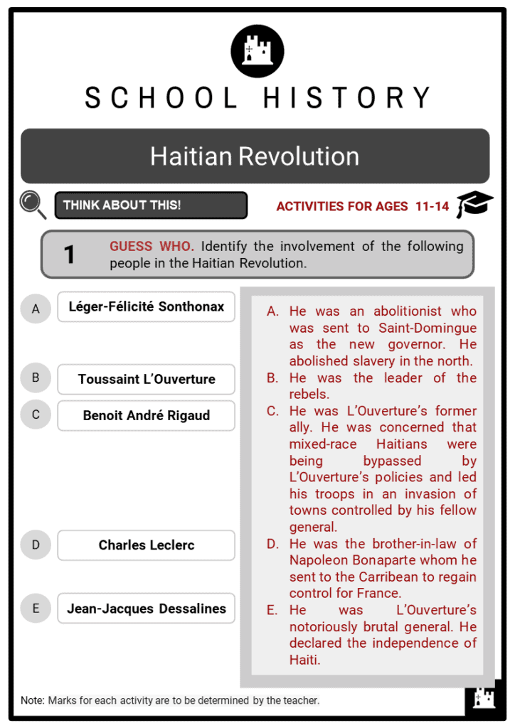 Haitian Revolution Student Activities & Answer Guide 2