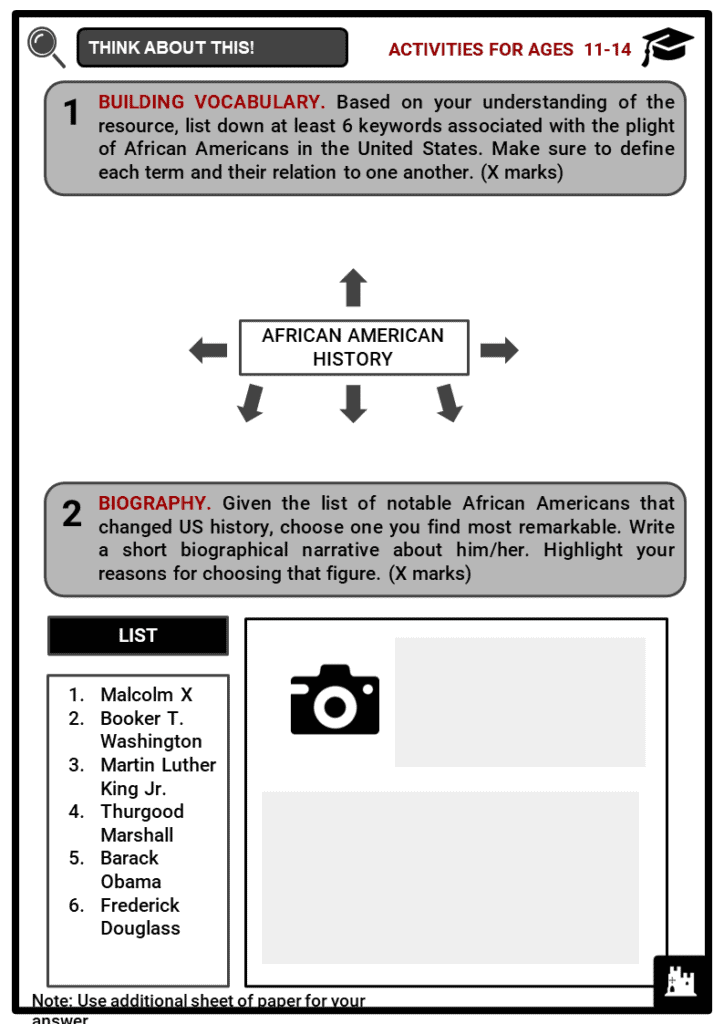 Influential African Americans Student Activities & Answer Guide 1